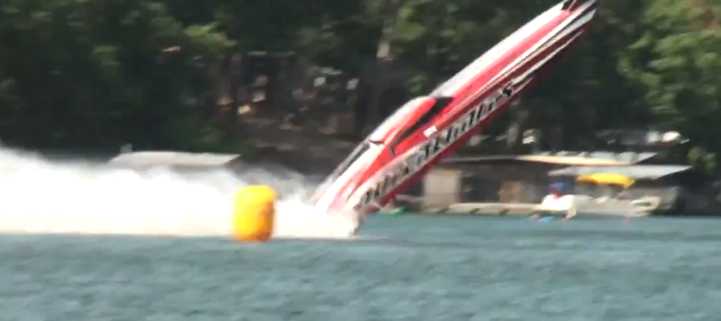The 42' catamaran was lifted into the air Saturday (08/23/14) seriously injuring both occupants.