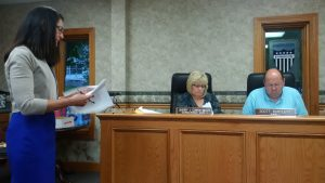 Rita Russell (Left) of Westbrook & Co. gave the 2015 Audit review before Carrollton City council members and the public during the June 20, 2016 meeting.