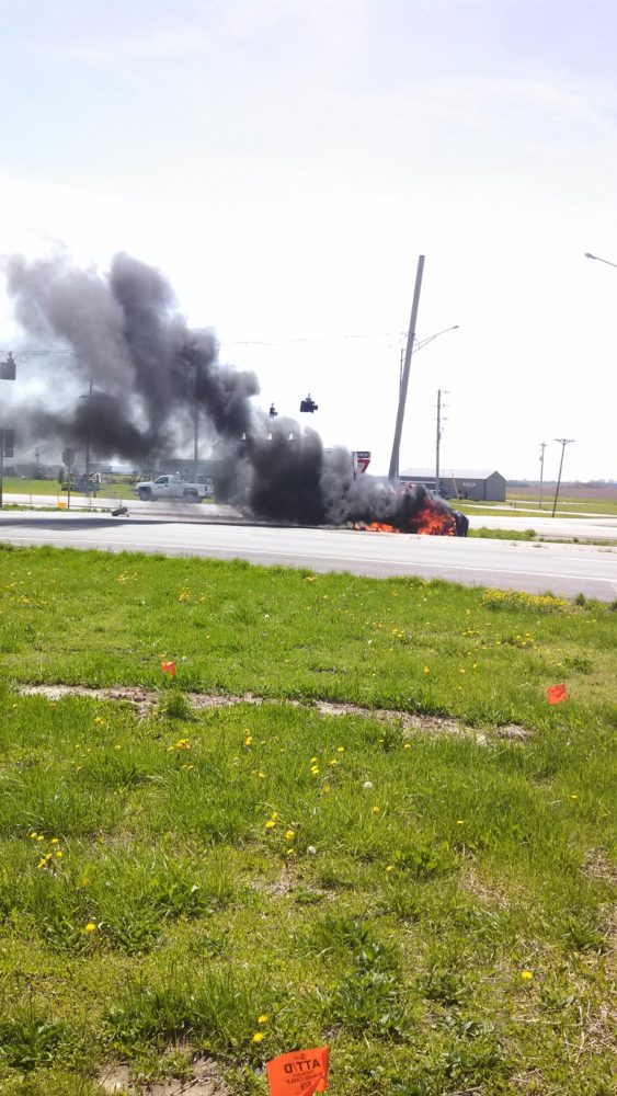 Flames Engulf Vehicle in Johnson Co.