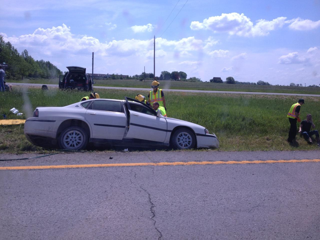 Minor injury reported after car goes off road in Johnson County.