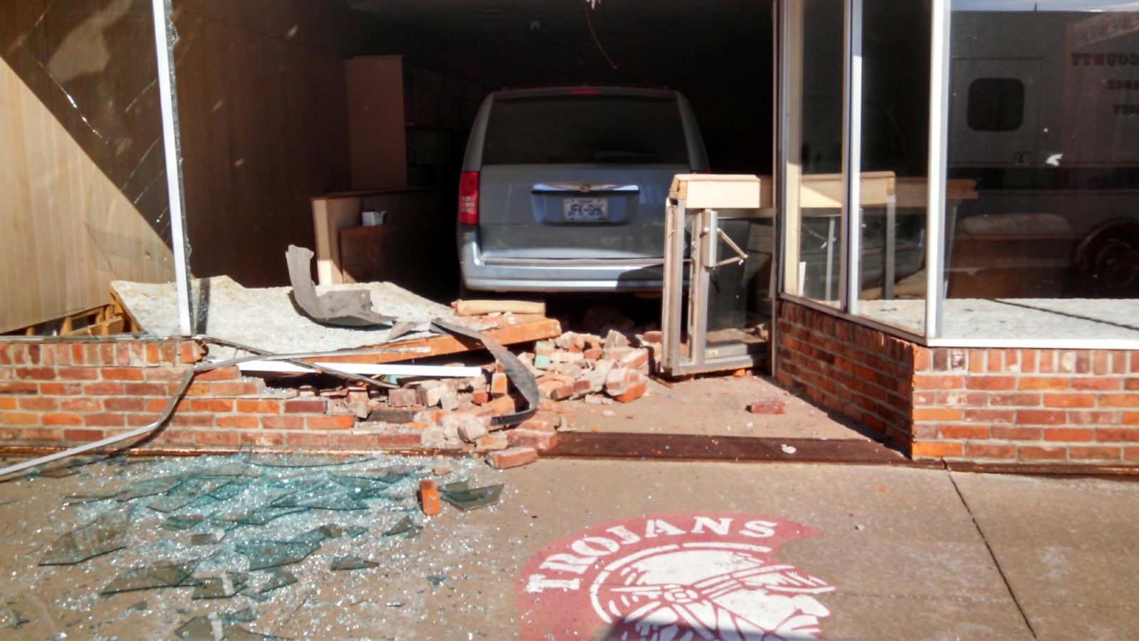 Van Drives Through Building Friday Morning