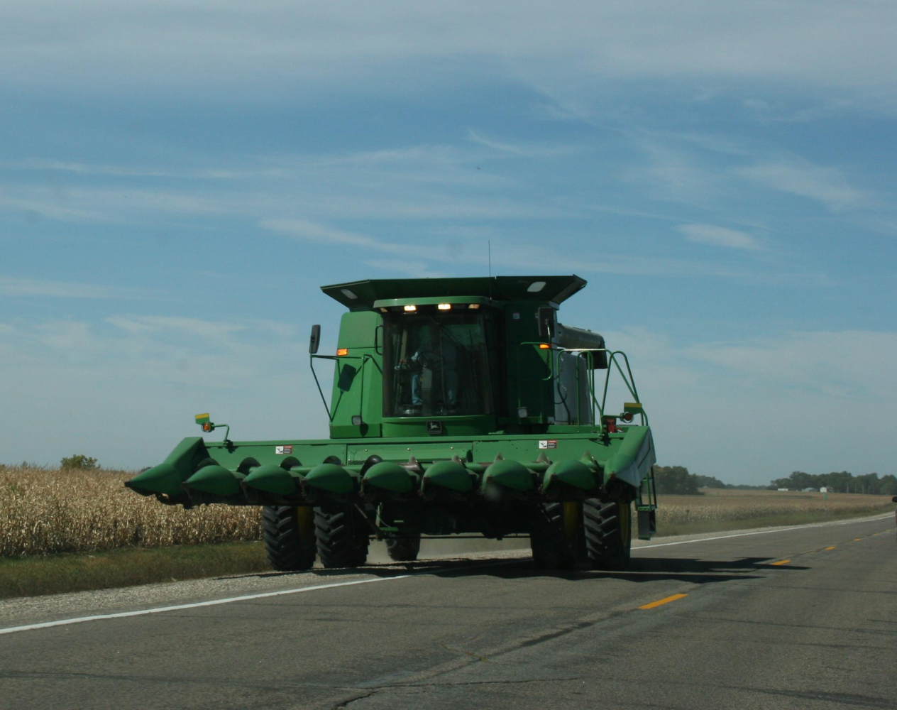 A motorcyclist was injured in a collision with a combine