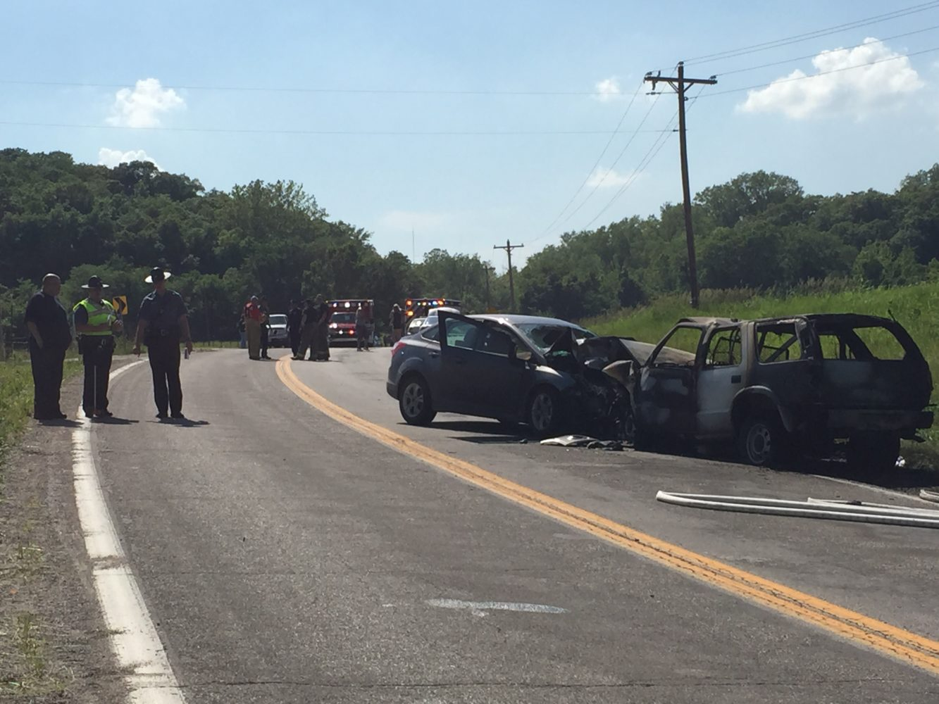 Four vehicle accident, multiple injuries and reported vehicle fire
