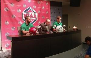 DB Bryce Enyard (Left), Coach Adam Dorrel (Middle), OL Shane Smith (Right)