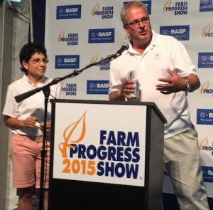 USFRA Chairwoman and Wisconsin farmer Nancy Kavazanjian along with USFRA CEO Randy Krotz answer questions during the 2015 Farm Progress Press Conference about USFRA's new sustainability research survey PHOTO- AgWired.com
