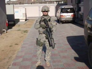 """Justin """"Boots"""" Dreskill, 29, Sergeant with the Fire Direction Command Specialist in an Artillery Unit with the Army National Guard."""