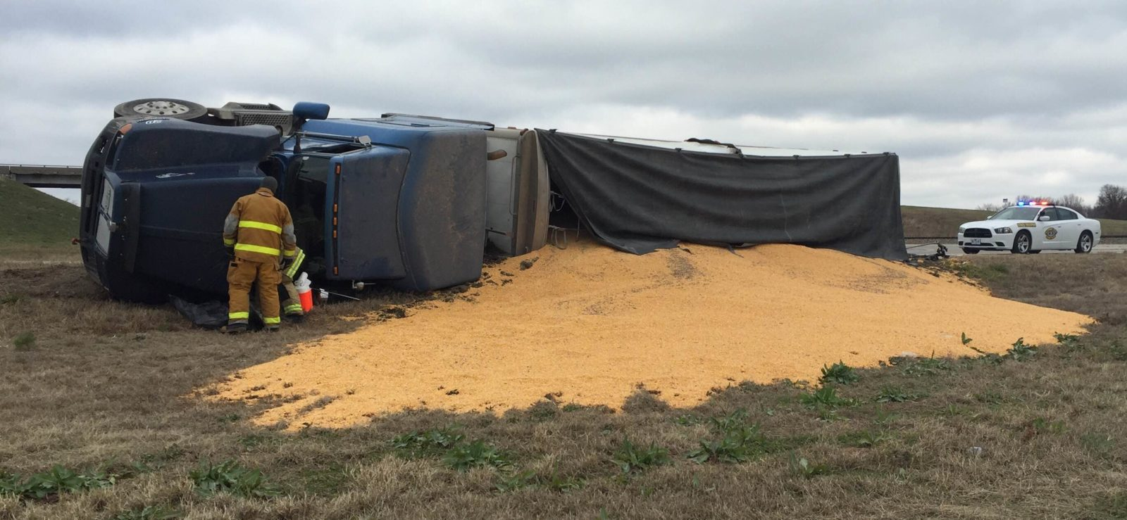 DEVELOPING: Semi-trailer overturned at 65 Highway, 10 Highway junction