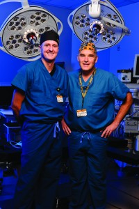 James Stannard, MD, and Jimi Cook, DVM, PhD, orthopaedic joint researchers photographed in the operating room at Missouri Orthopaedic Institute
