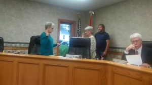 Ward 3 Councilwoman Trella Ward was sworn in for her second term on the Carrollton City Council by Clerk Dana Reimer during the regular session Monday, May 16, 2016.