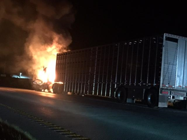 Tractor-Trailer fire involved several cattle on Highway 36