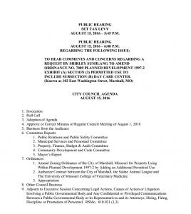 Marshall Agenda 08-15-16