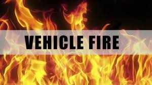 Vehicle catches fire as a result of a highway accident in Dent County