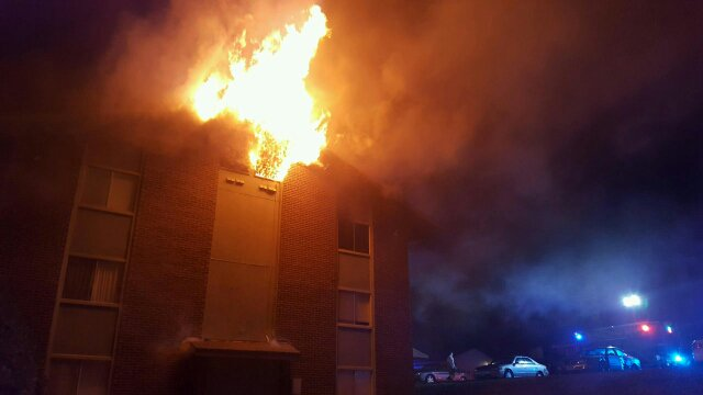 Liberty apartment fire claims two buildings, displaces a dozen