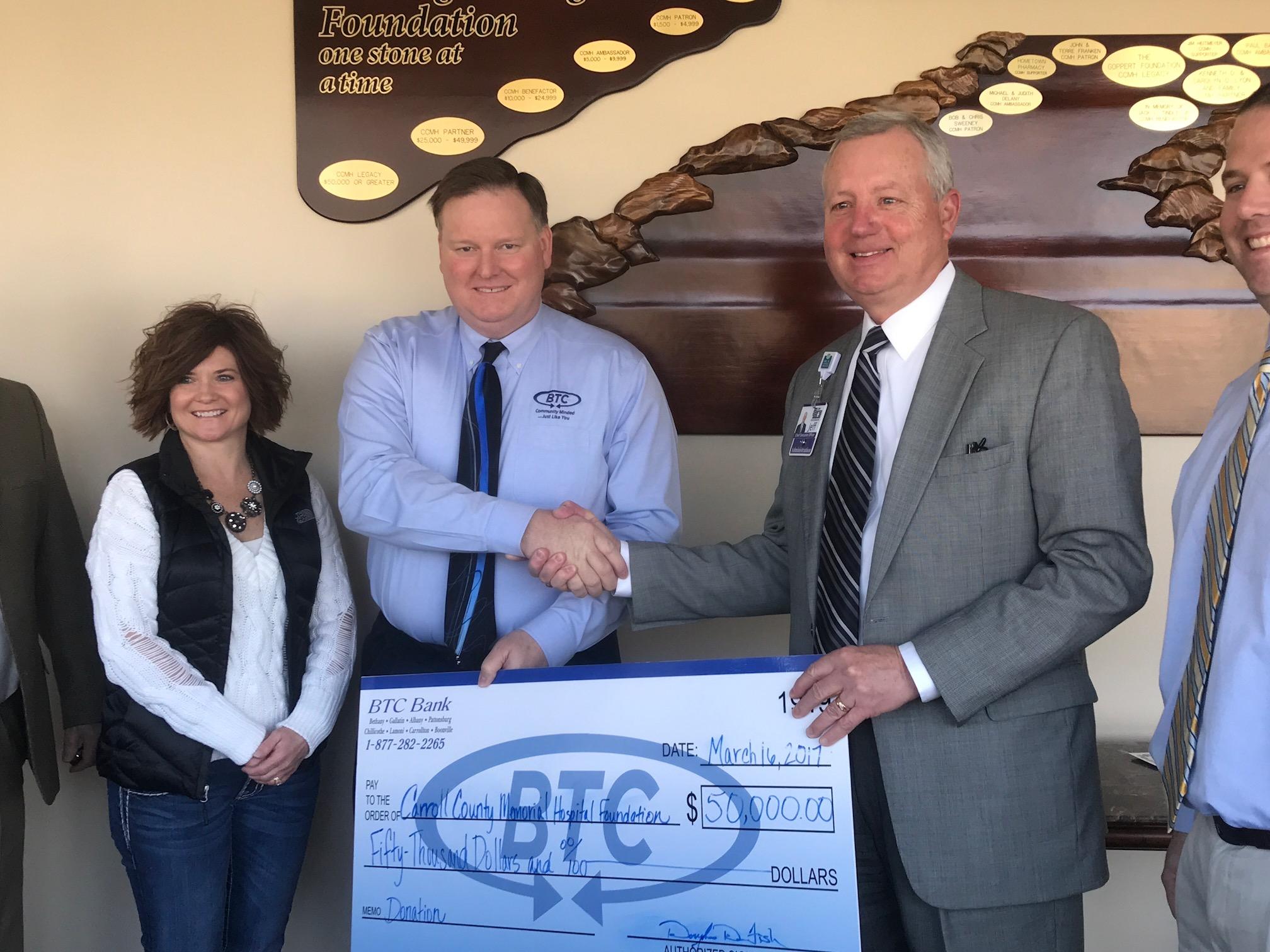 BTC Bank pledges $50,000 to Carroll County Memorial Hospital Foundation