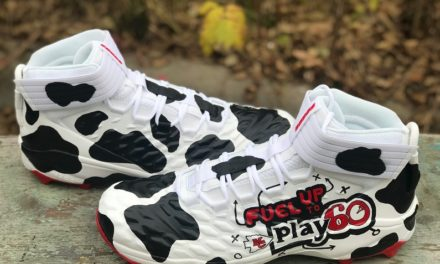 10 NFL players showcasing cleats in support of dairy farmers