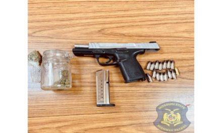 Stolen gun and marijuana found during MSHP stop